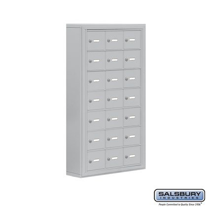 Cell Phone Storage Locker - 7 Door High Unit (5 Inch Deep Compartments) - 21 A Doors- Surface Mounted - Master Keyed Locks