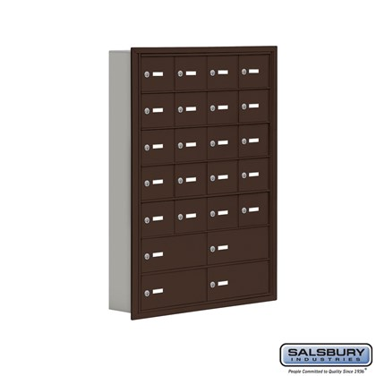 Cell Phone Storage Locker - 7 Door High Unit (5 Inch Deep Compartments) - 20 A Doors and 4 B Doors - Bronze - Recessed Mounted - Master Keyed Locks