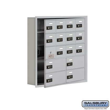 Cell Phone Storage Locker - with Front Access Panel - 5 Door High Unit (5 Inch Deep Compartments) - 12 A Doors (11 usable) and 4 B Doors - Recessed Mounted - Resettable Combination Locks