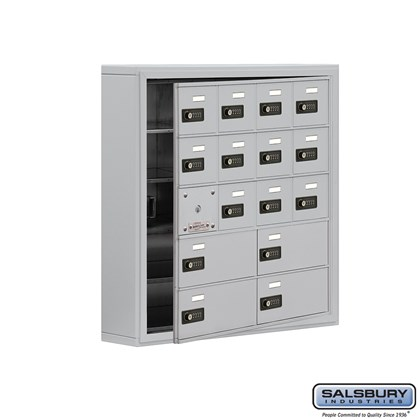 Cell Phone Storage Locker - with Front Access Panel - 5 Door High Unit (5 Inch Deep Compartments) - 12 A Doors (11 usable) and 4 B Doors - Aluminum - Surface Mounted - Resettable Combination Locks