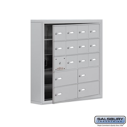 Cell Phone Storage Locker - with Front Access Panel - 5 Door High Unit (5 Inch Deep Compartments) - 12 A Doors (11 usable) and 4 B Doors - Aluminum - Surface Mounted - Master Keyed Locks