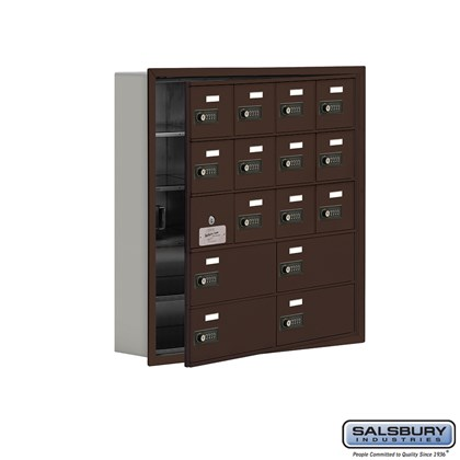 Cell Phone Storage Locker - with Front Access Panel - 5 Door High Unit (5 Inch Deep Compartments) - 12 A Doors (11 usable) and 4 B Doors - Bronze - Recessed Mounted - Resettable Combination Locks
