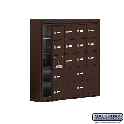 Cell Phone Storage Locker - with Front Access Panel - 5 Door High Unit (5 Inch Deep Compartments) - 12 A Doors (11 usable) and 4 B Doors - Bronze - Surface Mounted - Master Keyed Locks