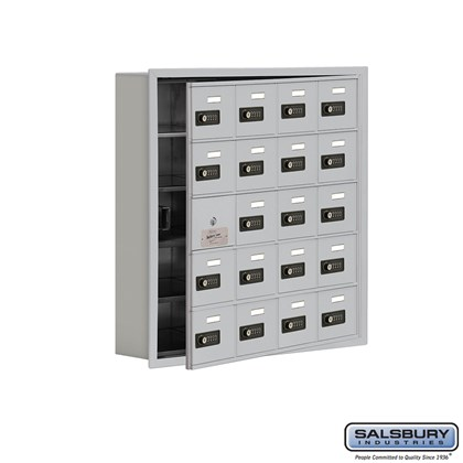 Custom Cell Phone Storage Locker - with Front Access Panel - 5 Door High Unit (5 Inch Deep Compartments) - 20 A Doors (19 usable) - Recessed Mounted - Resettable Combination Locks