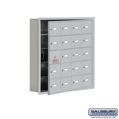 Custom Cell Phone Storage Locker - with Front Access Panel - 5 Door High Unit (5 Inch Deep Compartments) - 20 A Doors (19 usable) - Recessed Mounted - Master Keyed Locks