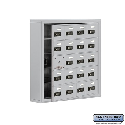 Cell Phone Storage Locker - with Front Access Panel - 5 Door High Unit (5 Inch Deep Compartments) - 20 A Doors (19 usable) - Aluminum - Surface Mounted - Resettable Combination Locks
