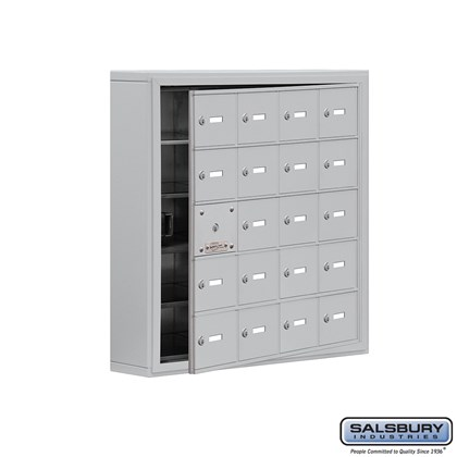Cell Phone Storage Locker - with Front Access Panel - 5 Door High Unit (5 Inch Deep Compartments) - 20 A Doors (19 usable) - Aluminum - Surface Mounted - Master Keyed Locks