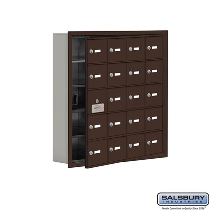 Cell Phone Storage Locker - with Front Access Panel - 5 Door High Unit (5 Inch Deep Compartments) - 20 A Doors (19 usable) - Bronze - Recessed Mounted - Master Keyed Locks