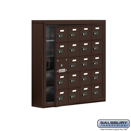 Cell Phone Storage Locker - with Front Access Panel - 5 Door High Unit (5 Inch Deep Compartments) - 20 A Doors (19 usable) - Bronze - Surface Mounted - Resettable Combination Locks