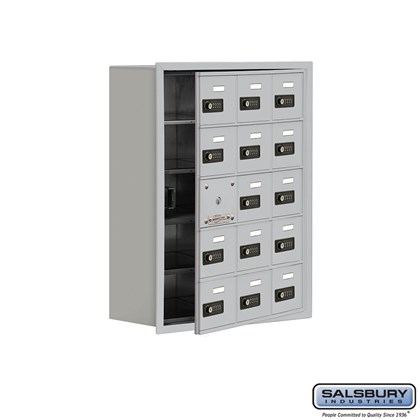 Cell Phone Storage Locker - with Front Access Panel - 5 Door High Unit (8 Inch Deep Compartments) - 15 A Doors (14 usable) - Recessed Mounted - Resettable Combination Locks