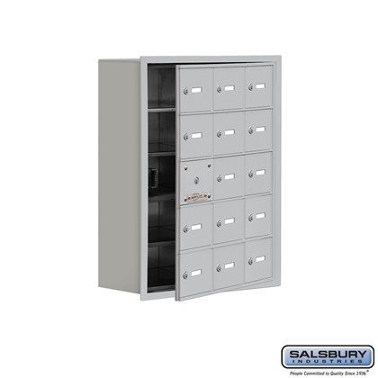 Cell Phone Storage Locker - with Front Access Panel - 5 Door High Unit (8 Inch Deep Compartments) - 15 A Doors (14 usable) - Recessed Mounted - Master Keyed Locks