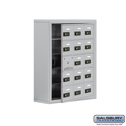 Cell Phone Storage Locker - with Front Access Panel - 5 Door High Unit (8 Inch Deep Compartments) - 15 A Doors (14 usable) - Surface Mounted - Resettable Combination Locks