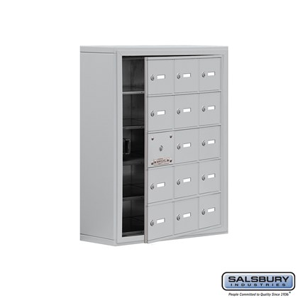 Cell Phone Storage Locker - with Front Access Panel - 5 Door High Unit (8 Inch Deep Compartments) - 15 A Doors (14 usable) - Surface Mounted - Master Keyed Locks