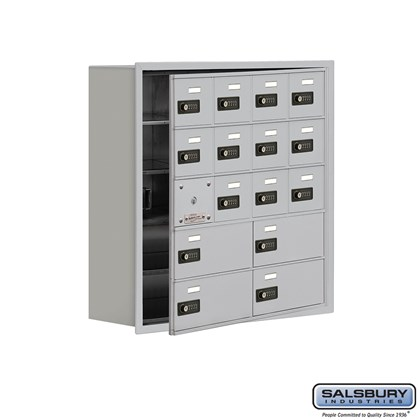 Cell Phone Storage Locker - with Front Access Panel - 5 Door High Unit (8 Inch Deep Compartments) - 12 A Doors (11 usable) and 4 B Doors - Recessed Mounted - Resettable Combination Locks