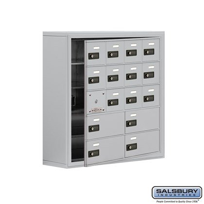 Cell Phone Storage Locker - with Front Access Panel - 5 Door High Unit (8 Inch Deep Compartments) - 12 A Doors (11 usable) and 4 B Doors - Aluminum - Surface Mounted - Resettable Combination Locks