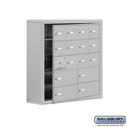 Cell Phone Storage Locker - with Front Access Panel - 5 Door High Unit (8 Inch Deep Compartments) - 12 A Doors (11 usable) and 4 B Doors - Aluminum - Surface Mounted - Master Keyed Locks
