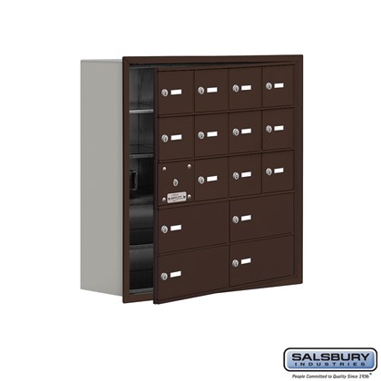 Cell Phone Storage Locker - with Front Access Panel - 5 Door High Unit (8 Inch Deep Compartments) - 12 A Doors (11 usable) and 4 B Doors - Bronze - Recessed Mounted - Master Keyed Locks