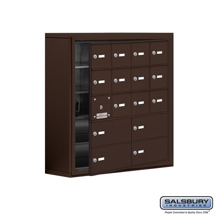 Cell Phone Storage Locker - with Front Access Panel - 5 Door High Unit (8 Inch Deep Compartments) - 12 A Doors (11 usable) and 4 B Doors - Bronze - Surface Mounted - Master Keyed Locks