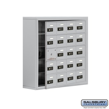 Cell Phone Storage Locker - with Front Access Panel - 5 Door High Unit (8 Inch Deep Compartments) - 20 A Doors (19 usable) - Aluminum - Surface Mounted - Resettable Combination Locks
