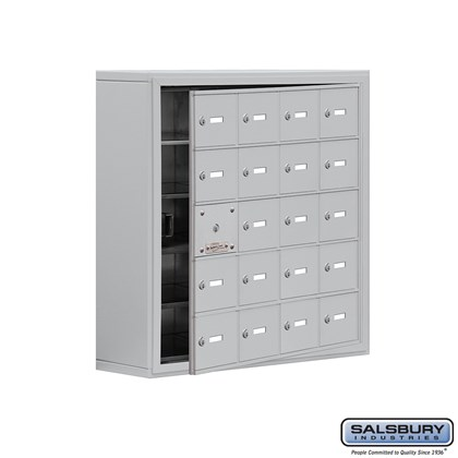 Cell Phone Storage Locker - with Front Access Panel - 5 Door High Unit (8 Inch Deep Compartments) - 20 A Doors (19 usable) - Aluminum - Surface Mounted - Master Keyed Locks