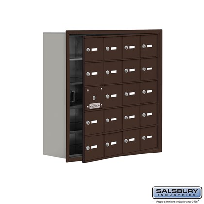Cell Phone Storage Locker - with Front Access Panel - 5 Door High Unit (8 Inch Deep Compartments) - 20 A Doors (19 usable) - Bronze - Recessed Mounted - Master Keyed Locks