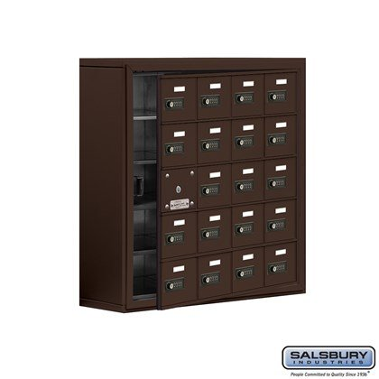 Cell Phone Storage Locker - with Front Access Panel - 5 Door High Unit (8 Inch Deep Compartments) - 20 A Doors (19 usable) - Bronze - Surface Mounted - Resettable Combination Locks