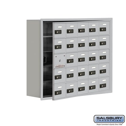 Cell Phone Storage Locker - with Front Access Panel - 5 Door High Unit (8 Inch Deep Compartments) - 25 A Doors (24 usable) - Recessed Mounted - Resettable Combination Locks