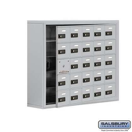 Cell Phone Storage Locker - with Front Access Panel - 5 Door High Unit (8 Inch Deep Compartments) - 25 A Doors (24 usable) - Surface Mounted - Resettable Combination Locks