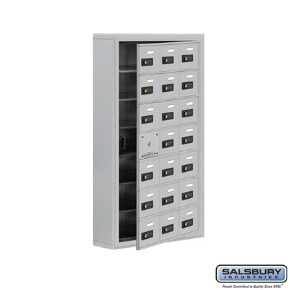 Cell Phone Storage Locker - with Front Access Panel - 7 Door High Unit (5 Inch Deep Compartments) - 21 A Doors (20 usable) - Surface Mounted - Resettable Combination Locks