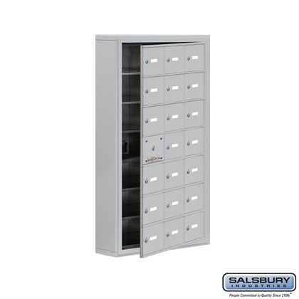 Custom Cell Phone Storage Locker - with Front Access Panel - 7 Door High Unit (5 Inch Deep Compartments) - 21 A Doors (20 usable) - Surface Mounted - Master Keyed Locks