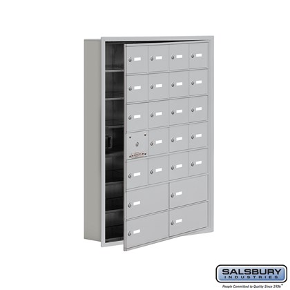 Cell Phone Storage Locker - with Front Access Panel - 7 Door High Unit (5 Inch Deep Compartments) - 20 A Doors (19 usable) and 4 B Doors - Recessed Mounted - Master Keyed Locks