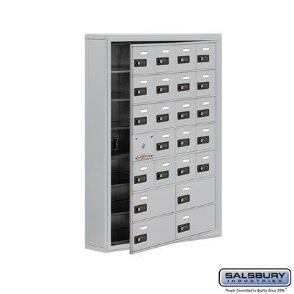 Cell Phone Storage Locker - with Front Access Panel - 7 Door High Unit (5 Inch Deep Compartments) - 20 A Doors (19 usable) and 4 B Doors - Aluminum - Surface Mounted - Resettable Combination Locks