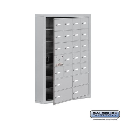 Cell Phone Storage Locker - with Front Access Panel - 7 Door High Unit (5 Inch Deep Compartments) - 20 A Doors (19 usable) and 4 B Doors - Aluminum - Surface Mounted - Master Keyed Locks