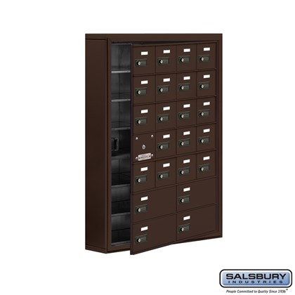 Cell Phone Storage Locker - with Front Access Panel - 7 Door High Unit (5 Inch Deep Compartments) - 20 A Doors (19 usable) and 4 B Doors - Bronze - Surface Mounted - Resettable Combination Locks