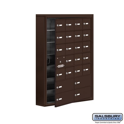 Cell Phone Storage Locker - with Front Access Panel - 7 Door High Unit (5 Inch Deep Compartments) - 20 A Doors (19 usable) and 4 B Doors - Bronze - Surface Mounted - Master Keyed Locks