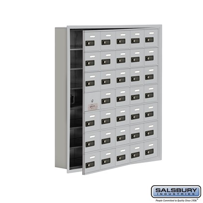 Cell Phone Storage Locker - with Front Access Panel - 7 Door High Unit (5 Inch Deep Compartments) - 35 A Doors (34 usable) - Recessed Mounted - Resettable Combination Locks
