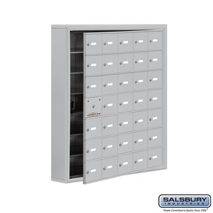 Cell Phone Storage Locker - with Front Access Panel - 7 Door High Unit (5 Inch Deep Compartments) - 35 A Doors (34 usable) - Aluminum - Surface Mounted - Master Keyed Locks