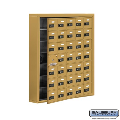 Cell Phone Storage Locker - with Front Access Panel - 7 Door High Unit (5 Inch Deep Compartments) - 35 A Doors (34 usable) - Gold - Surface Mounted - Resettable Combination Locks