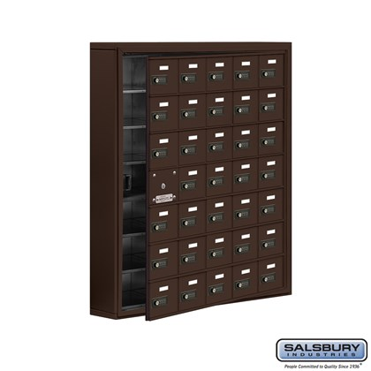 Cell Phone Storage Locker - with Front Access Panel - 7 Door High Unit (5 Inch Deep Compartments) - 35 A Doors (34 usable) - Surface Mounted - Resettable Combination Locks