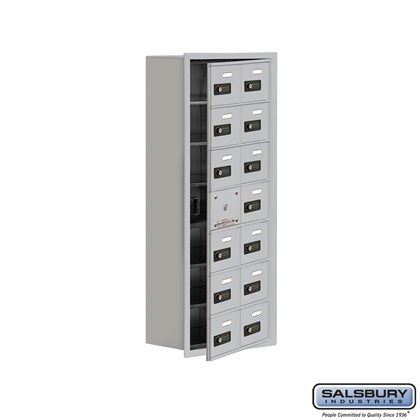 Custom Cell Phone Storage Locker - with Front Access Panel - 7 Door High Unit (8 Inch Deep Compartments) - 14 A Doors (13 usable) - Recessed Mounted - Resettable Combination Locks