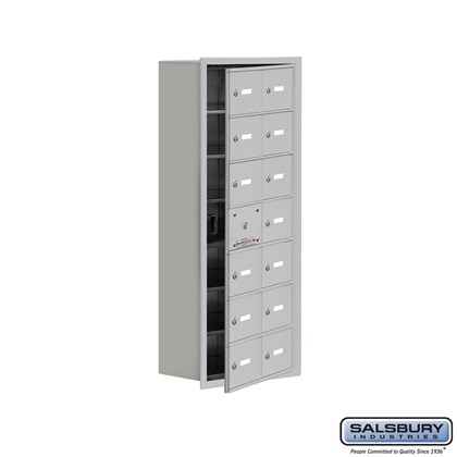 Custom Cell Phone Storage Locker - with Front Access Panel - 7 Door High Unit (8 Inch Deep Compartments) - 14 A Doors (13 usable) - Recessed Mounted - Master Keyed Locks