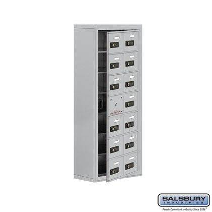 Custom Cell Phone Storage Locker - with Front Access Panel - 7 Door High Unit (8 Inch Deep Compartments) - 14 A Doors (13 usable) - Surface Mounted - Resettable Combination Locks