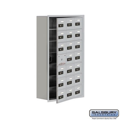 Custom Cell Phone Storage Locker - with Front Access Panel - 7 Door High Unit (8 Inch Deep Compartments) - 21 A Doors (20 usable) - Recessed Mounted - Resettable Combination Locks