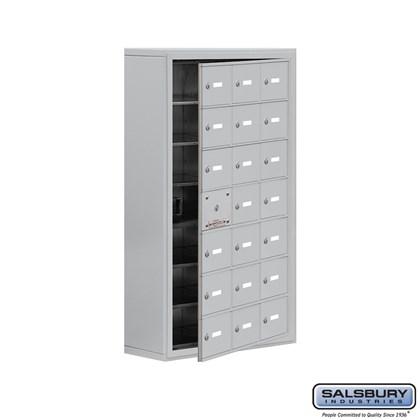 Cell Phone Storage Locker - with Front Access Panel - 7 Door High Unit (8 Inch Deep Compartments) - 21 A Doors (20 usable) - Surface Mounted - Master Keyed Locks