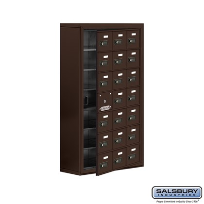 Cell Phone Storage Locker - with Front Access Panel - 7 Door High Unit (8 Inch Deep Compartments) - 21 A Doors (20 usable) - Bronze - Surface Mounted - Resettable Combination Locks