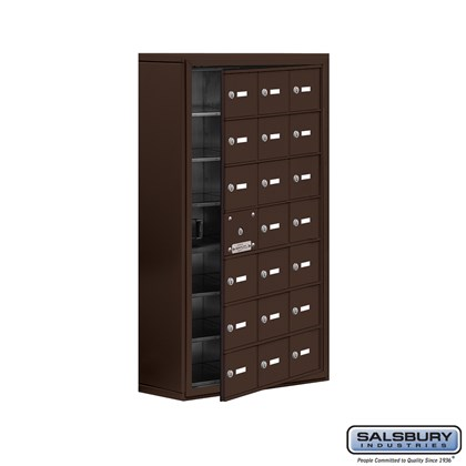 Cell Phone Storage Locker - with Front Access Panel - 7 Door High Unit (8 Inch Deep Compartments) - 21 A Doors (20 usable) - Bronze - Surface Mounted - Master Keyed Locks