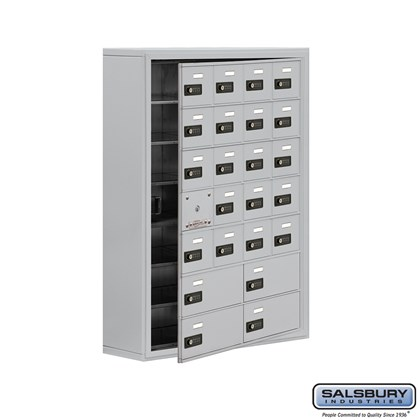 Cell Phone Storage Locker - with Front Access Panel - 7 Door High Unit (8 Inch Deep Compartments) - 20 A Doors (19 usable) and 4 B Doors - Surface Mounted - Resettable Combination Locks