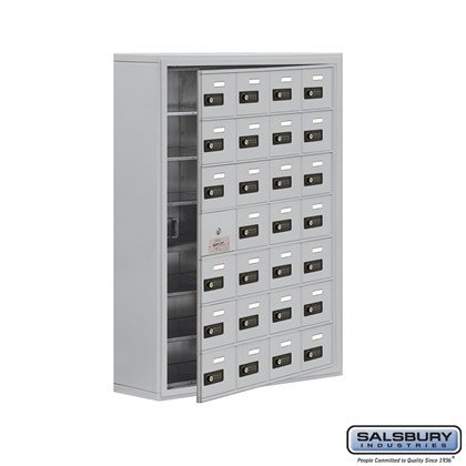 Cell Phone Storage Locker - 7 Door High Unit (8 Inch Deep Compartments) - 28 A Doors (27 usable) - Surface Mounted - Resettable Combination Locks