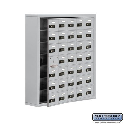 Cell Phone Storage Locker - with Front Access Panel - 7 Door High Unit (8 Inch Deep Compartments) - 35 A Doors (34 usable) - Surface Mounted - Resettable Combination Locks