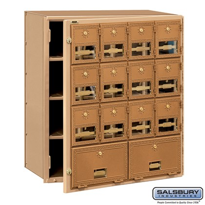 Brass Mailbox - 14 Doors - Front Loading
